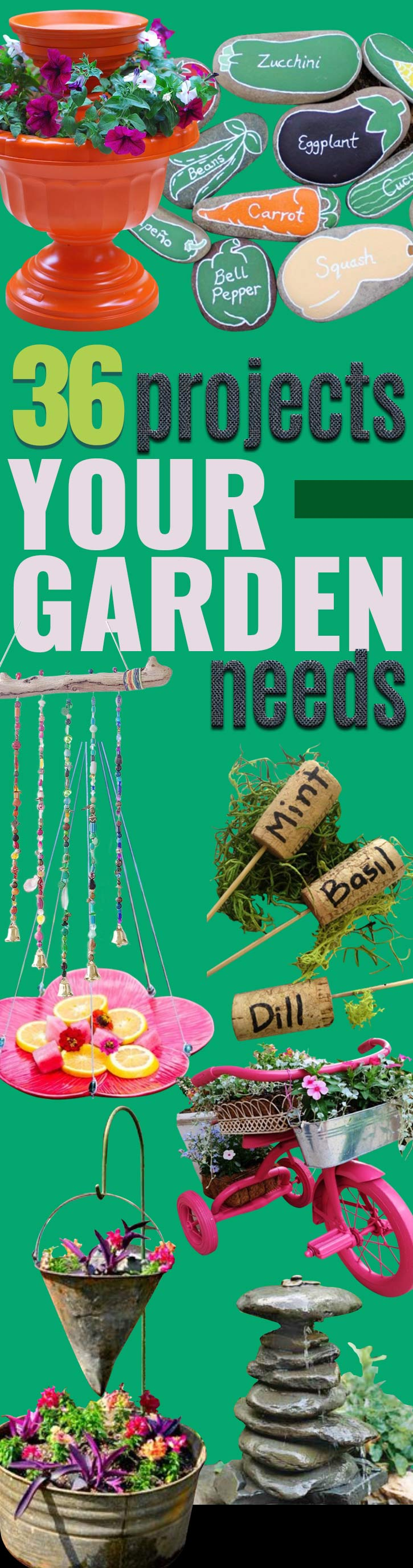 DIY Ideas for Your Garden - Cool Projects for Spring and Summer Gardening - Planters, Rocks, Markers and Handmade Decor for Outdoor Gardens