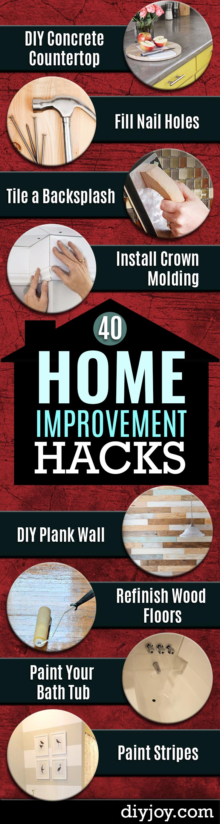 Home Improvement Hacks. Remodeling Ideas and DIY Home Improvement Made Easy With the Clever, Easy Renovation Ideas. Kitchen, Bathroom, Garage. Walls, Floors, Baseboards,Tile, Ceilings, Wood and Trim.
