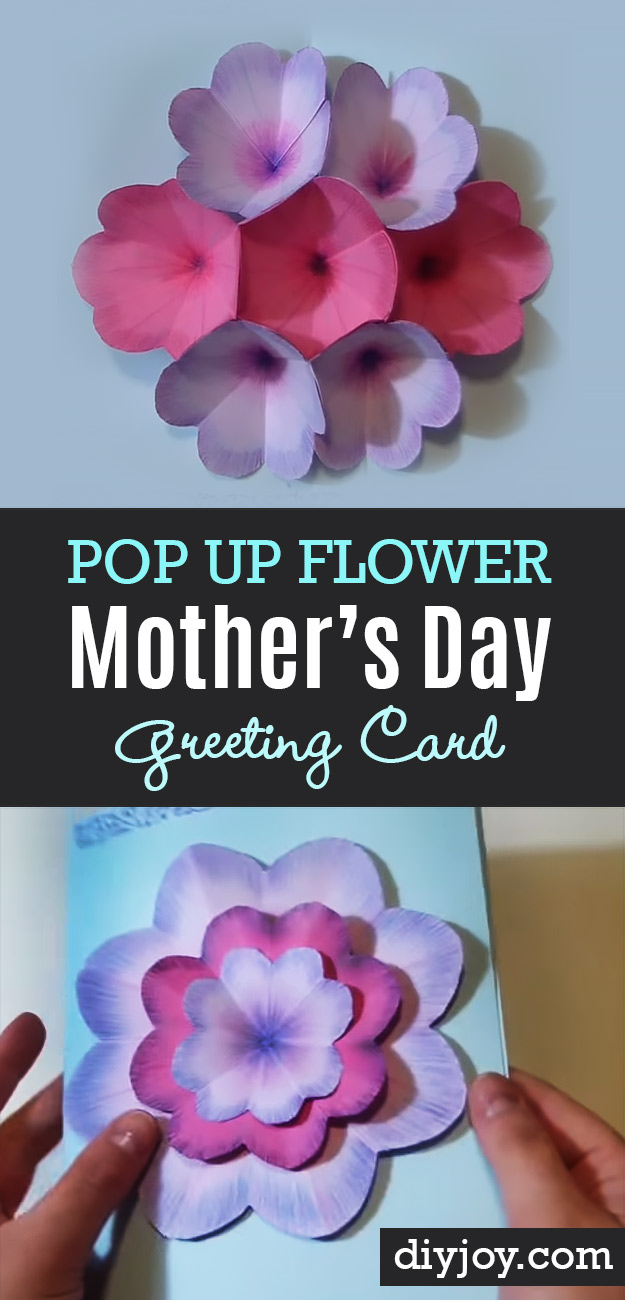 Creative DIY Mothers Day Gifts Ideas - Pop Up Flower Mother's Day Greeting Card - Thoughtful Homemade Gifts for Mom. Handmade Ideas from Daughter, Son, Kids, Teens or Baby - Unique, Easy, Cheap Do It Yourself Crafts To Make for Mothers Day, complete with tutorials and instructions #mothersday