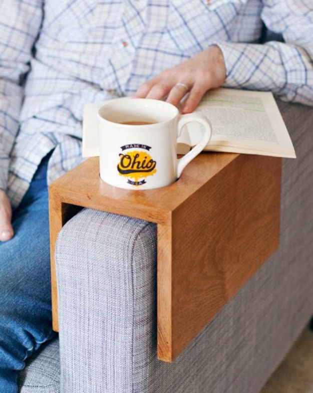 Creative DIY Mothers Day Gifts Ideas - Wooden Sofa Sleeve with Cup Holder - Thoughtful Homemade Gifts for Mom. Handmade Ideas from Daughter, Son, Kids, Teens or Baby - Unique, Easy, Cheap Do It Yourself Crafts To Make for Mothers Day, complete with tutorials and instructions #mothersday