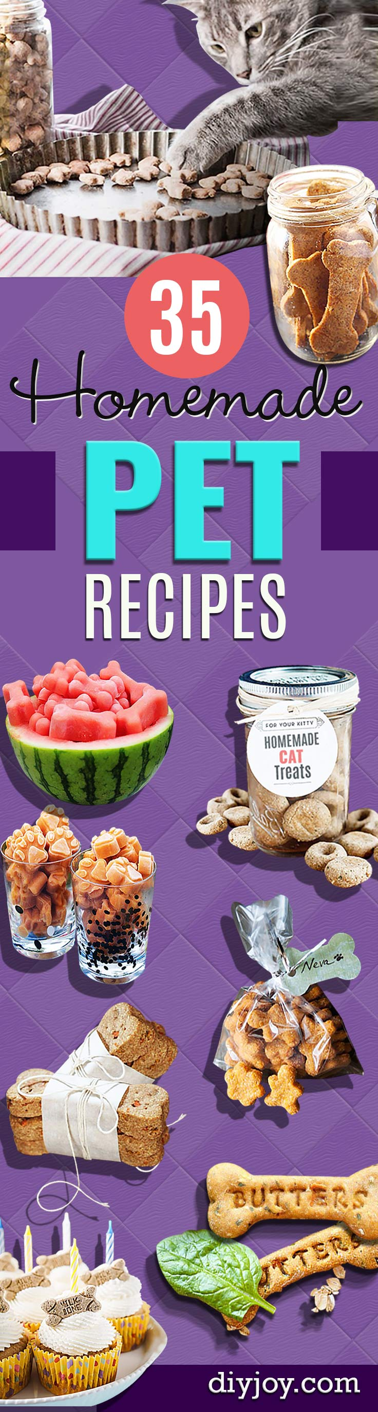 pet recipes for homemade dog food and cat treats diy- Dogs, Cats and Puppies Will Love These Homemade Products and Healthy Recipe Ideas - Peanut Butter, Gluten Free, Grain Free - How To Make Home made Dog and Cat Food
