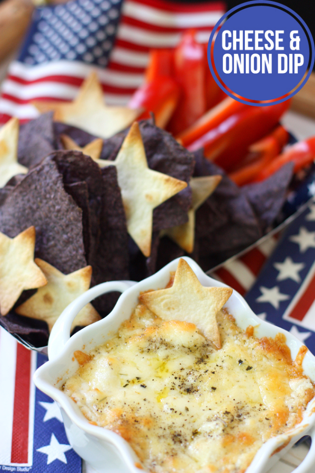 Best Fourth of July Food and Drink Ideas - 4th Of July Chips And Cheese Dip - BBQ on the 4th with these Desserts, Recipes and Ideas for Healthy Appetizers, Party Trays, Easy Meals for a Crowd and Fun Drink Ideas
