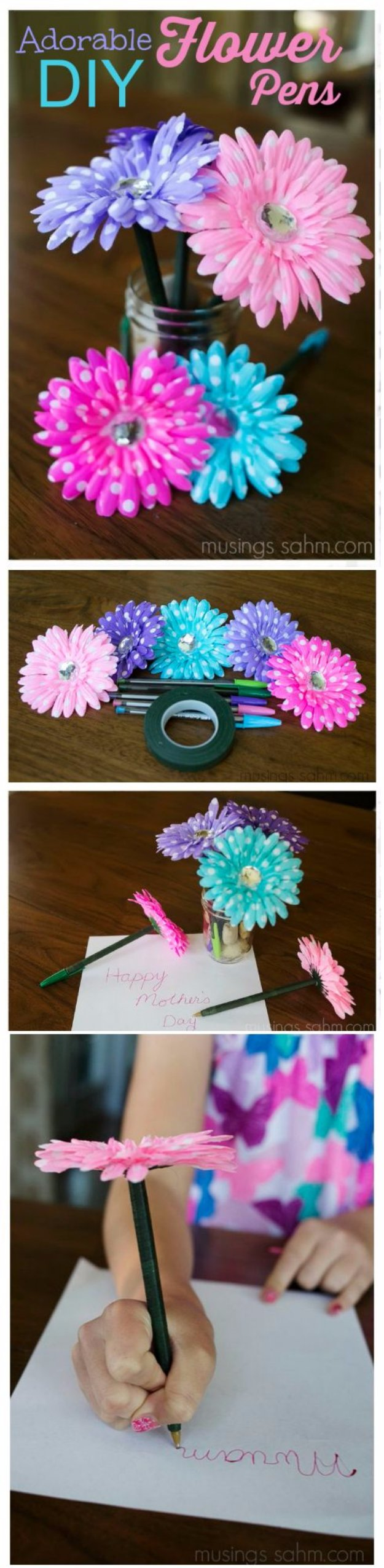 Easy Crafts To Sell - Adorable Flower Pens - Cool Homemade Craft Projects You Can Sell On Etsy, at Craft Fairs, Online and in Stores. Quick and Cheap DIY Ideas that Adults and Even Teens #craftstosell #diyideas #crafts
