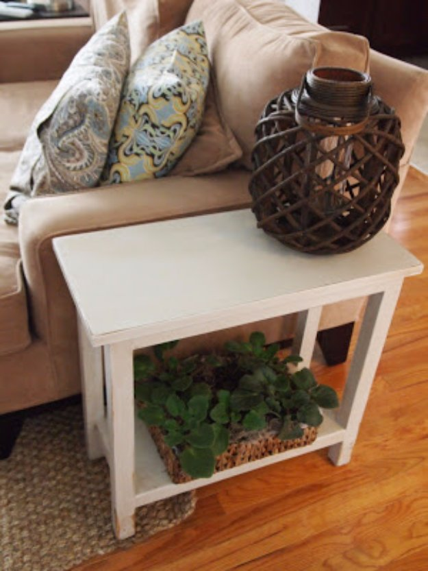 DIY End Tables with Step by Step Tutorials - Aged Finish Narrow DIY End Table - Cheap and Easy End Table Projects and Plans - Wood, Storage, Pallet, Crate, Modern and Rustic. Bedroom and Living Room Decor Ideas #endtables #diydecor #diy