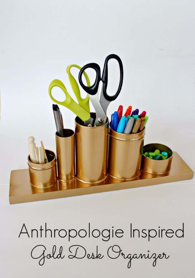 DIY Home Office Decor Ideas - Anthropologie Inspired Gold Desk Organizer - Do It Yourself Desks, Tables, Wall Art, Chairs, Rugs, Seating and Desk Accessories for Your Home Office #office #diydecor #diy