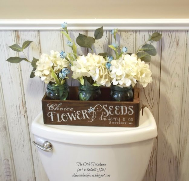 DIY Bathroom Decor Ideas - Antique Sewing Turned Seedbox Bathroom Display - Cool Do It Yourself