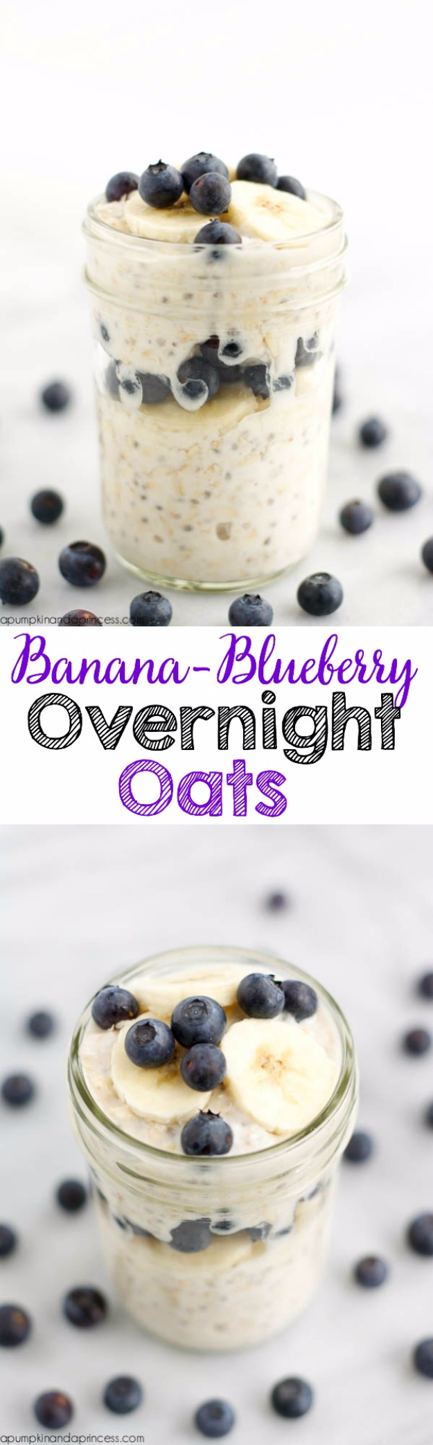 Best Recipes in A Jar - Banana Blueberry Overnight Oats In A Jar - DIY Mason Jar Gifts, Cookie Recipes and Desserts, Canning Ideas, Overnight Oatmeal, How To Make Mason Jar Salad, Healthy Recipes and Printable Labels