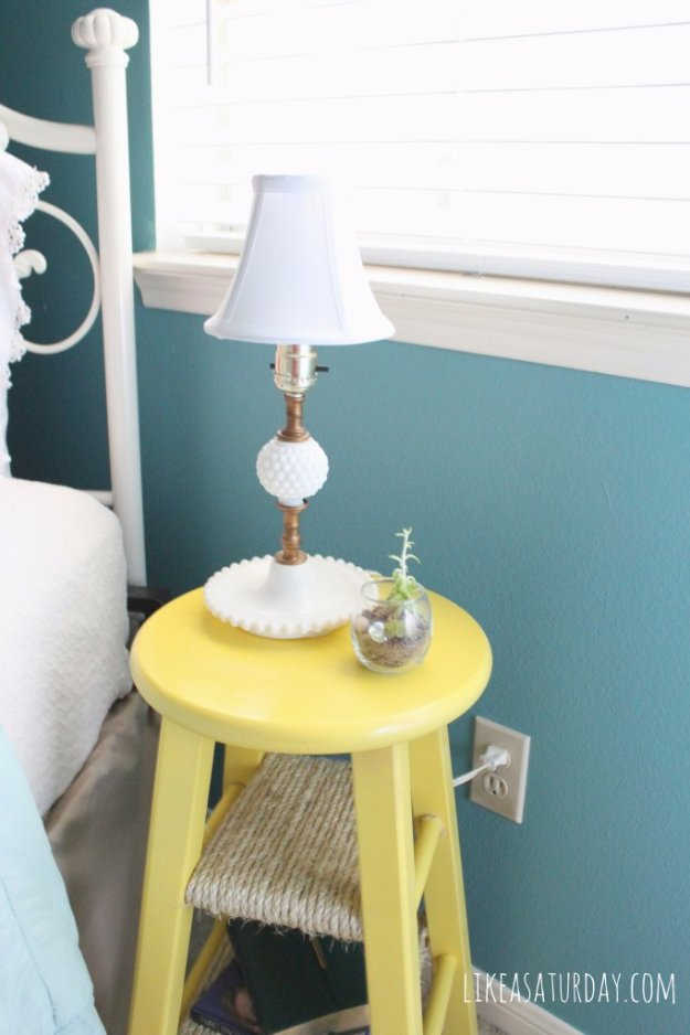 DIY End Tables with Step by Step Tutorials - Bar Stool Turned Side Table - Cheap and Easy End Table Projects and Plans - Wood, Storage, Pallet, Crate, Modern and Rustic. Bedroom and Living Room Decor Ideas #endtables #diydecor #diy