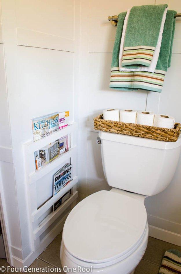 DIY Bathroom Decor Ideas - Bathroom DIY Magazine Rack Tutorial - Cool Do It Yourself Bath Ideas on A Budget, Rustic Bathroom Fixtures, Creative Wall Art, Rugs mason jar idea bath diy