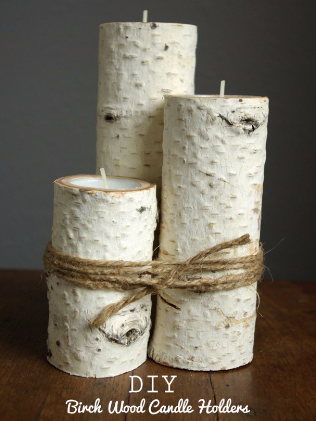DIY Farmhouse Style Decor Ideas - Birch Wood Candle Holders - Rustic Ideas for Furniture, Paint Colors, Farm House Decoration for Living Room, Kitchen and Bedroom http://diyjoy.com/diy-farmhouse-decor-ideas
