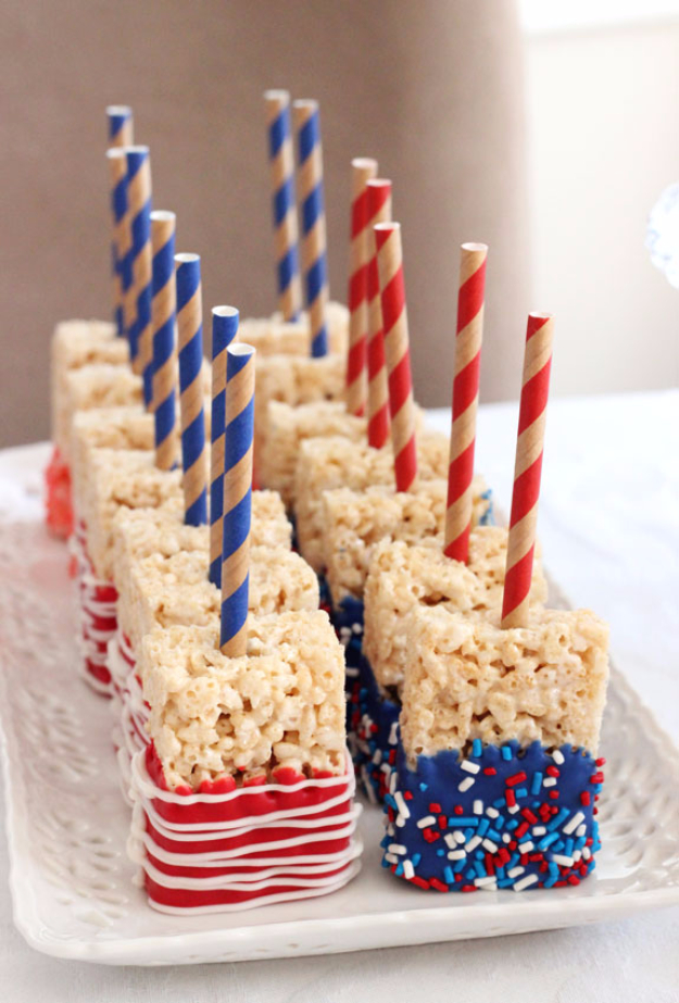 Best Fourth of July Food and Drink Ideas - Blue And Red Rice Krispies - BBQ on the 4th with these Desserts, Recipes and Ideas for Healthy Appetizers, Party Trays, Easy Meals for a Crowd and Fun Drink Ideas