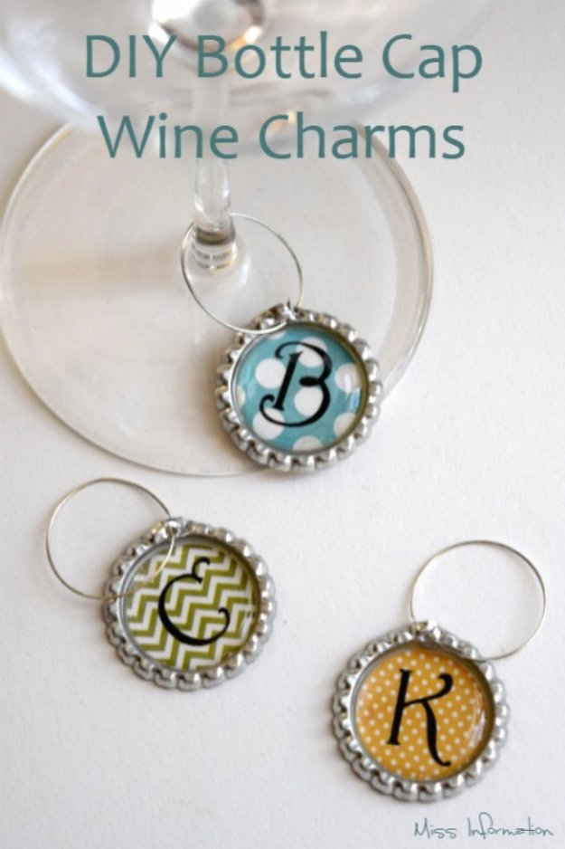 Easy Crafts To Make and Sell - DiY Bottle Cap Wine Charms - Cool Homemade Craft Projects You Can Sell On Etsy, at Craft Fairs, Online and in Stores. Quick and Cheap DIY Ideas that Adults and Even Teens #craftstosell #diyideas #crafts