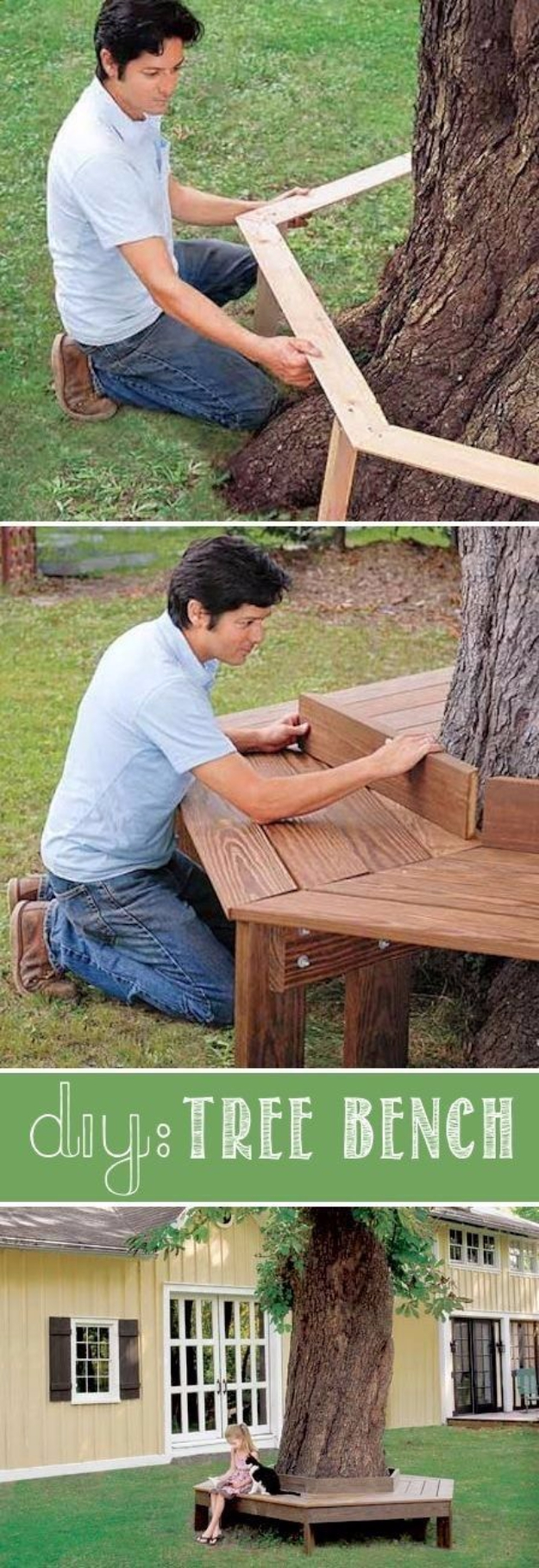 Creative Ways to Increase Curb Appeal on A Budget - Build A Tree Bench - Cheap and Easy Ideas for Upgrading Your Front Porch, Landscaping, Driveways, Garage Doors, Brick and Home Exteriors. Add Window Boxes, House Numbers