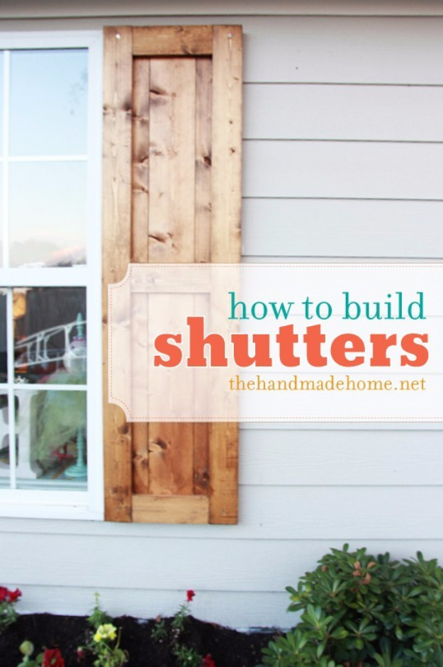 Creative Ways to Increase Curb Appeal on A Budget - Build Handmade Shutters - Cheap and Easy Ideas for Upgrading Your Front Porch, Landscaping, Driveways, Garage Doors, Brick and Home Exteriors. Add Window Boxes, House Numbers