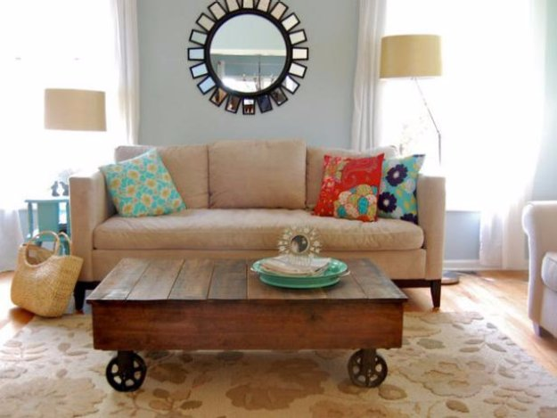 DIY Living Room Decor Ideas - Build a Factory Cart Coffee Table - Cool Modern, Rustic and Creative Home Decor - Coffee Tables, Wall Art, Rugs, Pillows and Chairs. Step by Step Tutorials and Instructions