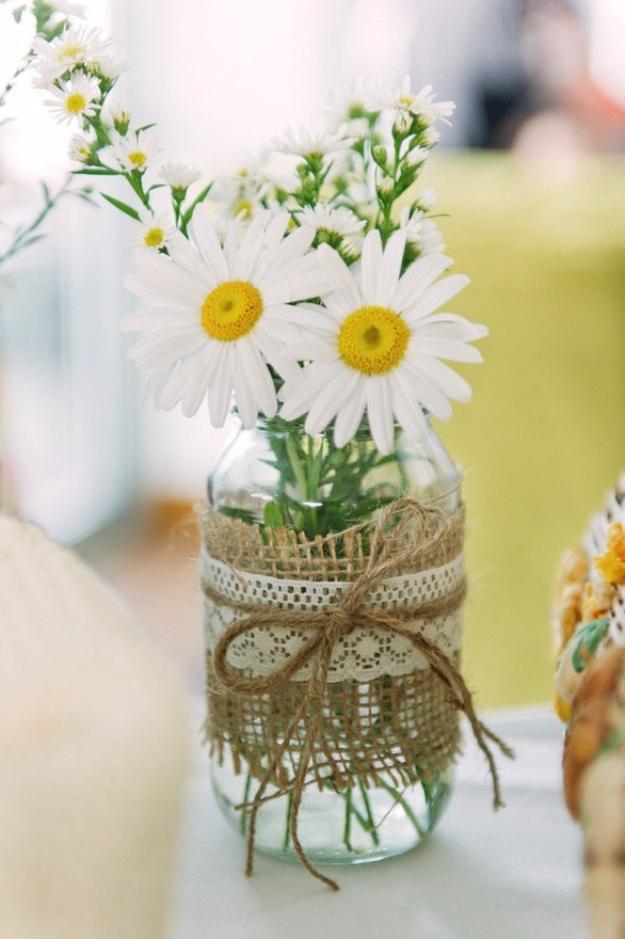 DIY Mason Jar Vases - Burlap Mason Jar Vase - Best Vase Projects and Ideas for Mason Jars - Painted, Wedding, Hanging Flowers, Centerpiece, Rustic Burlap, Ribbon and Twine