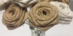 Exquisitely Unique Burlap Roses Look Great in a Mason Jar!