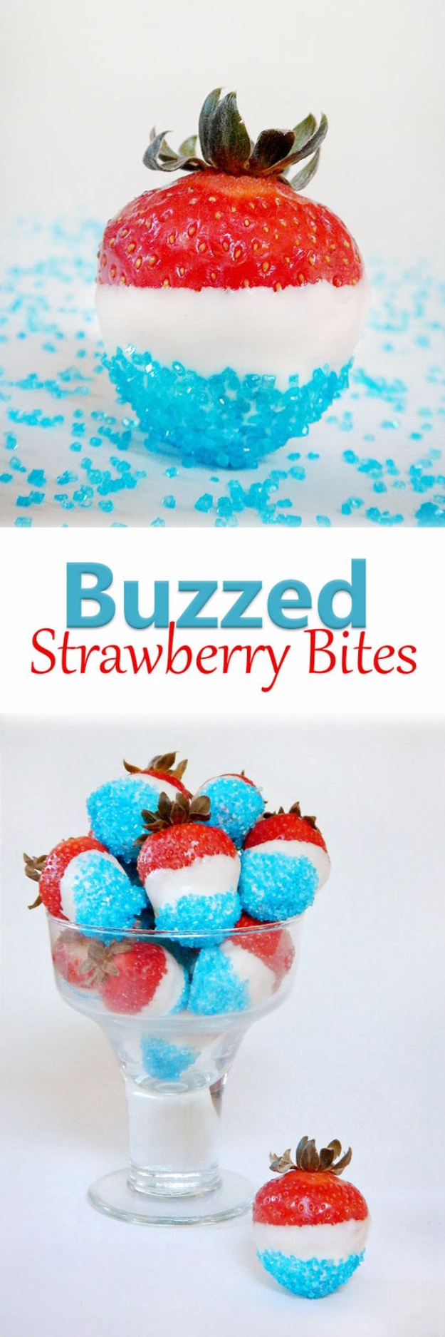 Best Fourth of July Food and Drink Ideas - Buzzed Strawberry Bites - BBQ on the 4th with these Desserts, Recipes and Ideas for Healthy Appetizers, Party Trays, Easy Meals for a Crowd and Fun Drink Ideas