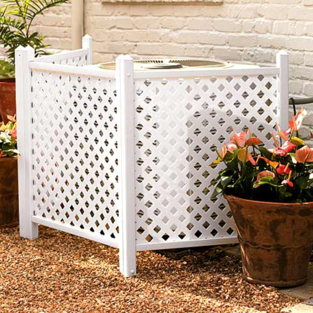 Creative Ways to Increase Curb Appeal on A Budget - Camouflage AC Unit With Lattice - Cheap and Easy Ideas for Upgrading Your Front Porch, Landscaping, Driveways, Garage Doors, Brick and Home Exteriors. Add Window Boxes, House Numbers