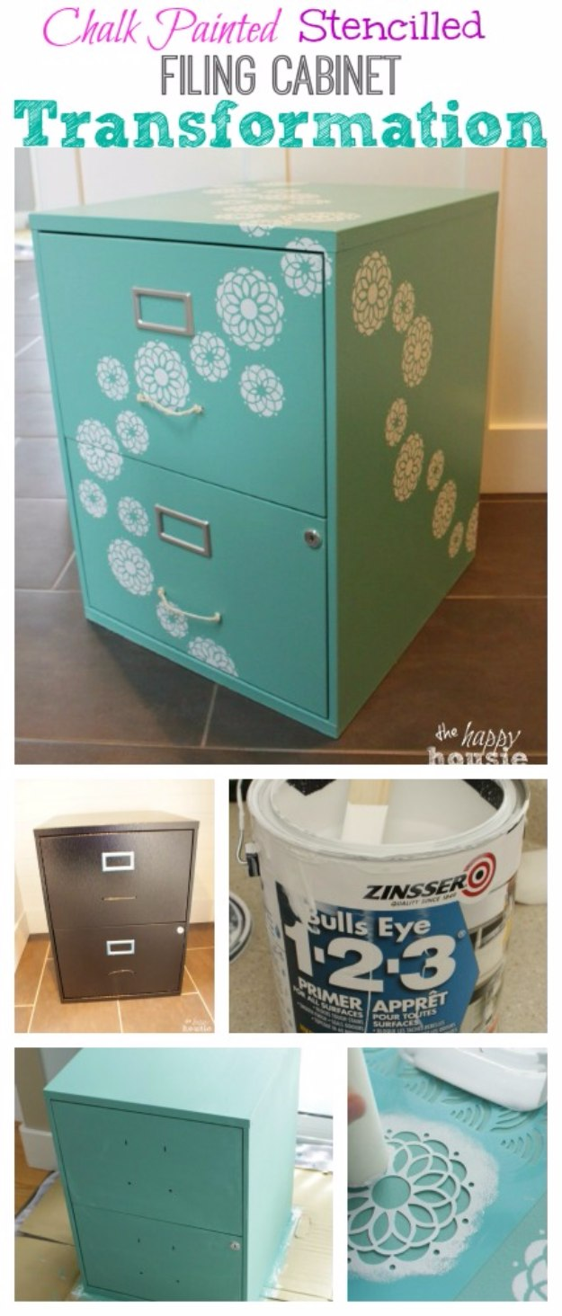 DIY Home Office Decor Ideas - Chalk Painted Stencilled Filing Cabinet - Do It Yourself Desks, Tables, Wall Art, Chairs, Rugs, Seating and Desk Accessories for Your Home Office #office #diydecor #diy