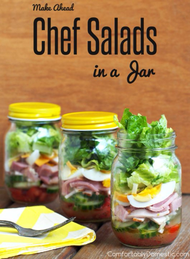 Best Recipes in A Jar - Chef Salad In A Jar - DIY Mason Jar Gifts, Cookie Recipes and Desserts, Canning Ideas, Overnight Oatmeal, How To Make Mason Jar Salad, Healthy Recipes and Printable Labels http://diyjoy.com/best-recipes-in-a-jar