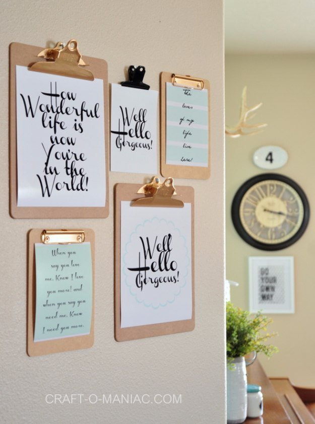 DIY Home Office Decor Ideas - Clip Board Wall Art - Do It Yourself Desks, Tables, Wall Art, Chairs, Rugs, Seating and Desk Accessories for Your Home Office #office #diydecor #diy