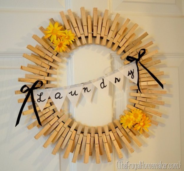 Easy Crafts To Make and Sell - Clothespin Wreath - Cool Homemade Craft Projects You Can Sell On Etsy, at Craft Fairs, Online and in Stores. Quick and Cheap DIY Ideas that Adults and Even Teens #craftstosell #diyideas #crafts