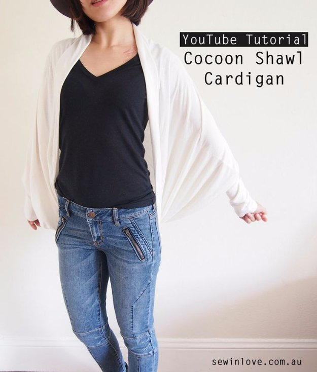DIY Sewing Projects for Women - Cocoon Shawl Cardigan Tutorial - How to Sew Dresses, Blouses, Pants, Tops and Fashion. Step by Step Tutorials and Instructions #sewing #fashion