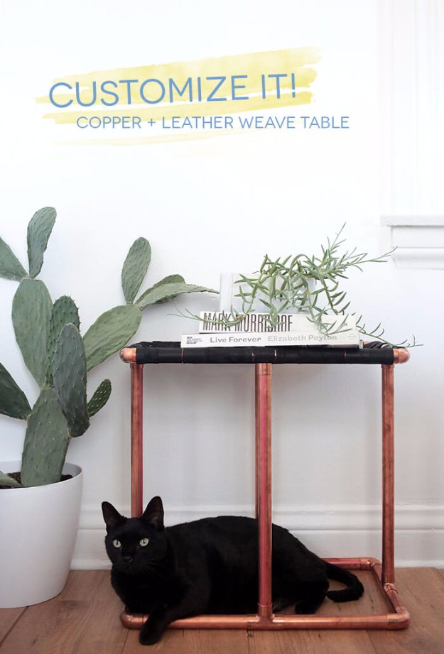 DIY End Tables with Step by Step Tutorials - Copper And leather Weave Side Table - Cheap and Easy End Table Projects and Plans - Wood, Storage, Pallet, Crate, Modern and Rustic. Bedroom and Living Room Decor Ideas #endtables #diydecor #diy