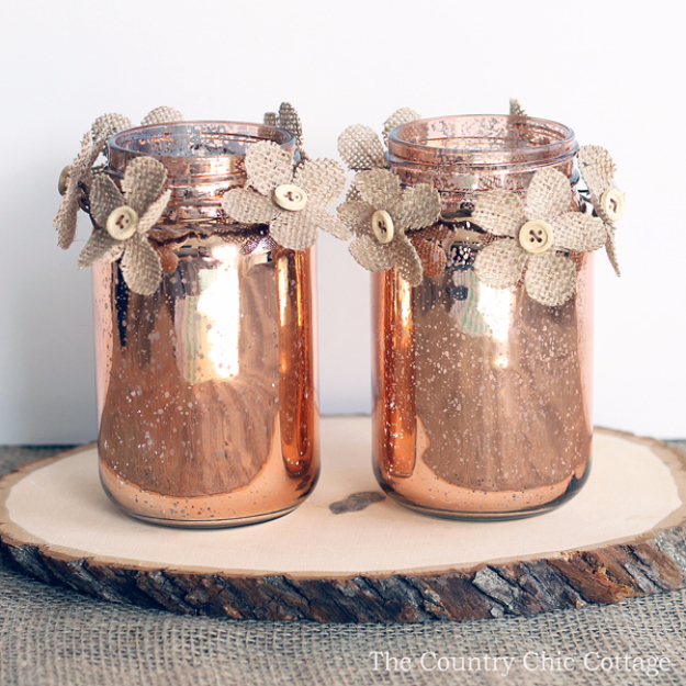 DIY Mason Jar Vases - Copper Mason Jar Vase - Best Vase Projects and Ideas for Mason Jars - Painted, Wedding, Hanging Flowers, Centerpiece, Rustic Burlap, Ribbon and Twine