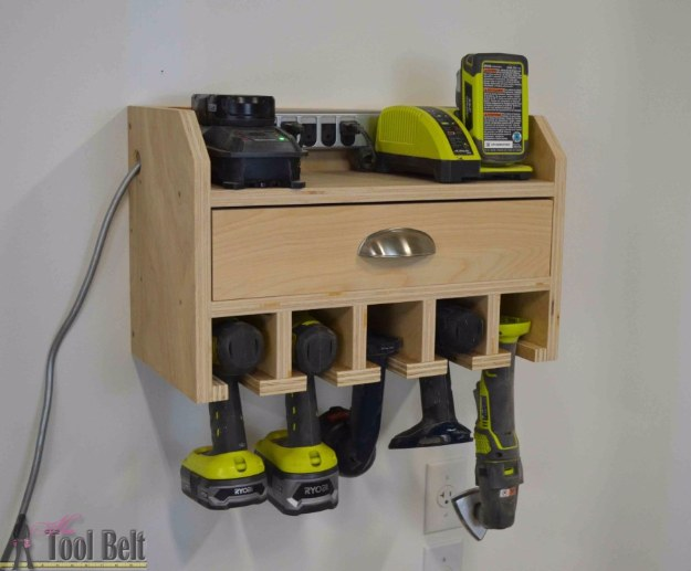DIY Projects Your Garage Needs -Cordless Drill Storage Charging Station DIY - Do It Yourself Garage Makeover Ideas Include Storage, Organization, Shelves, and Project Plans for Cool New Garage Decor #diy #garage #homeimprovement