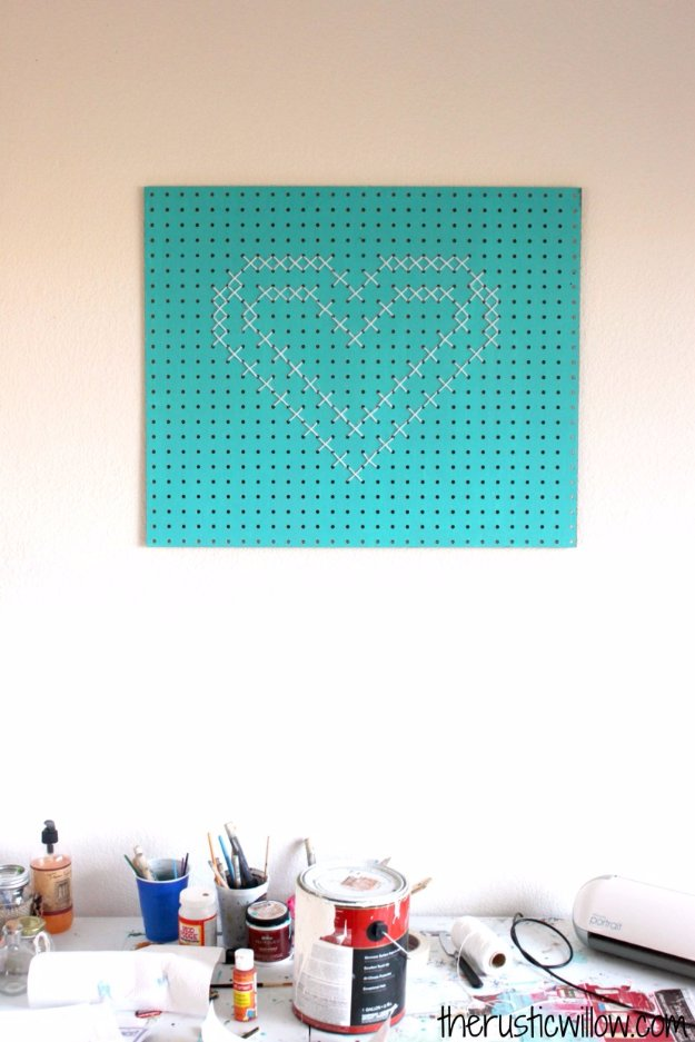 DIY Renters Decor Ideas - Cross Stitch Pegboard Heart - Cool DIY Projects for Those Renting Aparments, Condos or Dorm Rooms - Easy Temporary Wall Art, Contact Paper, Washi Tape and Shelves to Make at Home  #diyhomedecor #diyideas