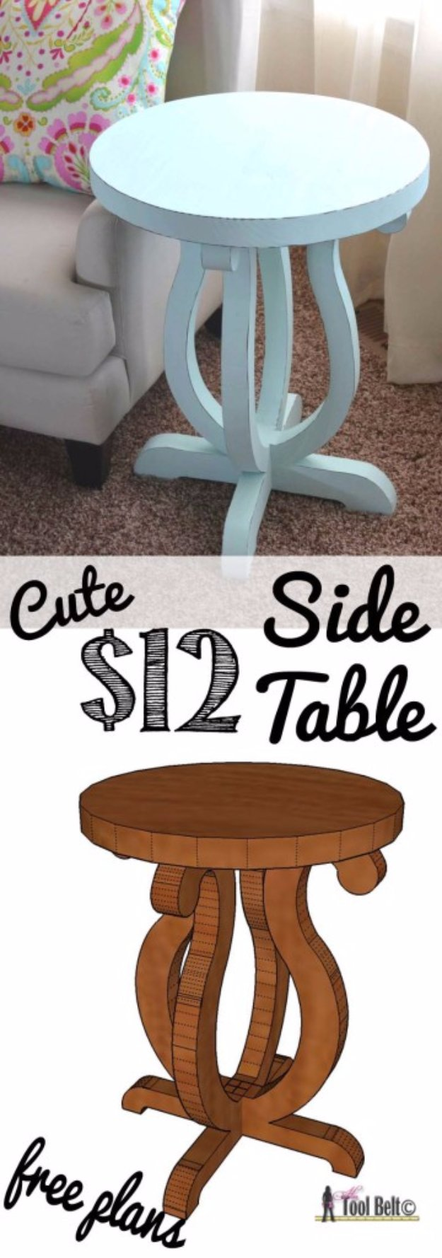 DIY End Tables with Step by Step Tutorials - Curvy Side Table - Cheap and Easy End Table Projects and Plans - Wood, Storage, Pallet, Crate, Modern and Rustic. Bedroom and Living Room Decor Ideas #endtables #diydecor #diy