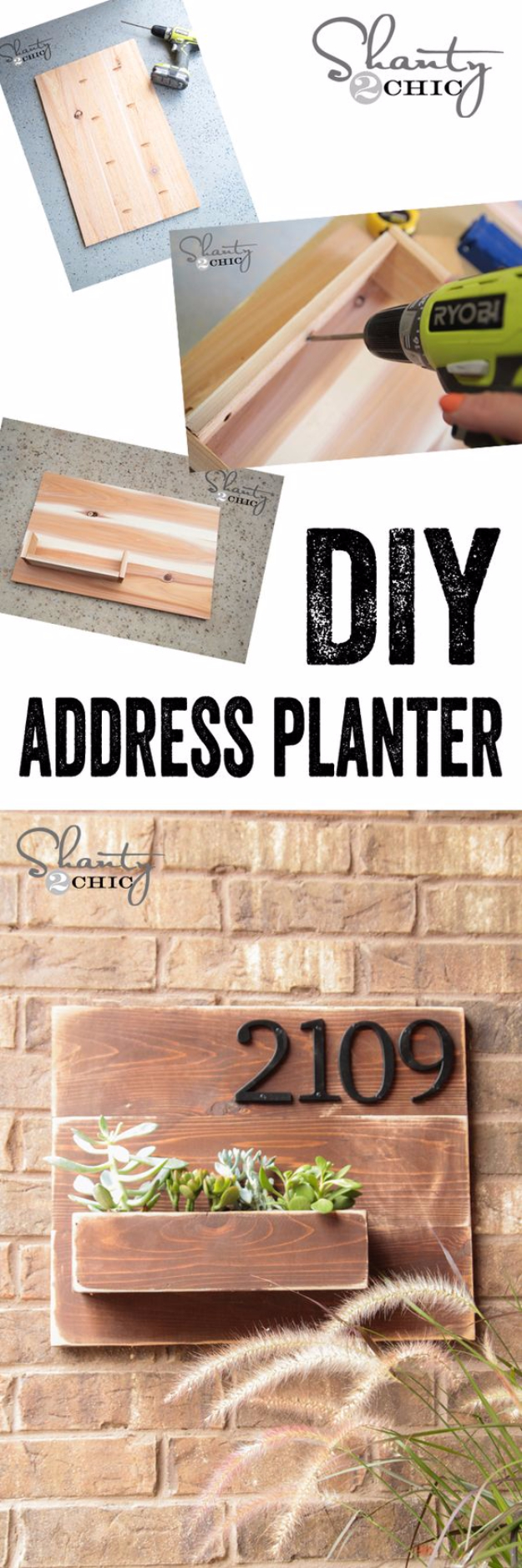 Creative Ways to Increase Curb Appeal on A Budget - DIY Address Number Wall Planter - Cheap and Easy Ideas for Upgrading Your Front Porch, Landscaping, Driveways, Garage Doors, Brick and Home Exteriors. Add Window Boxes, House Numbers