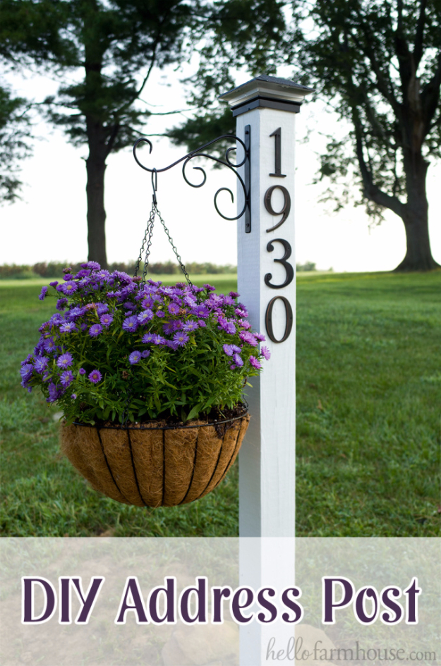 Creative Ways to Increase Curb Appeal on A Budget - DIY Address Post- Cheap and Easy Ideas for Upgrading Your Front Porch, Landscaping, Driveways, Garage Doors, Brick and Home Exteriors. Add Window Boxes, House Numbers