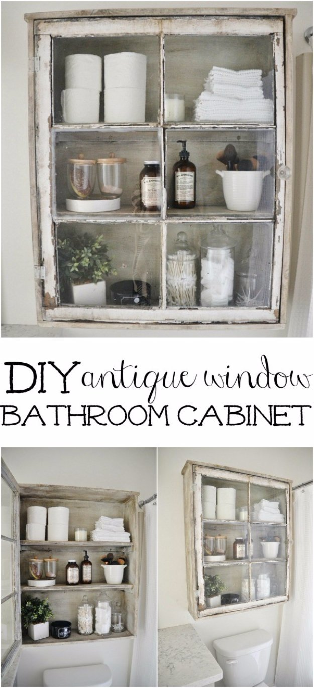 DIY Bathroom Decor Ideas - DIY Antique Window Bathroom Cabinet - Cool Do It Yourself Bath Ideas on A Budget, Rustic Bathroom Fixtures, Creative Wall Art, Rugs mason jar idea bath diy