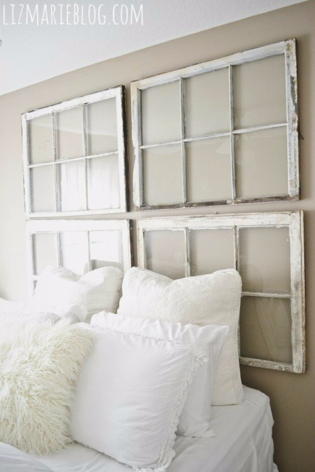 DIY Headboard Ideas - DIY Antique Window Headboard - Easy and Cheap Do It Yourself Headboards - Upholstered, Wooden, Fabric Tufted, Rustic Pallet, Projects With Lights, Storage and More Step by Step Tutorials #diy #bedroom #furniture