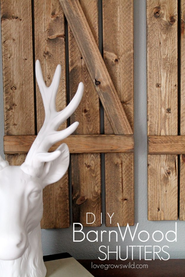 DIY Living Room Decor Ideas - DIY Barnwood Shutters - Cool Modern, Rustic and Creative Home Decor - Coffee Tables, Wall Art, Rugs, Pillows and Chairs. Step by Step Tutorials and Instructions