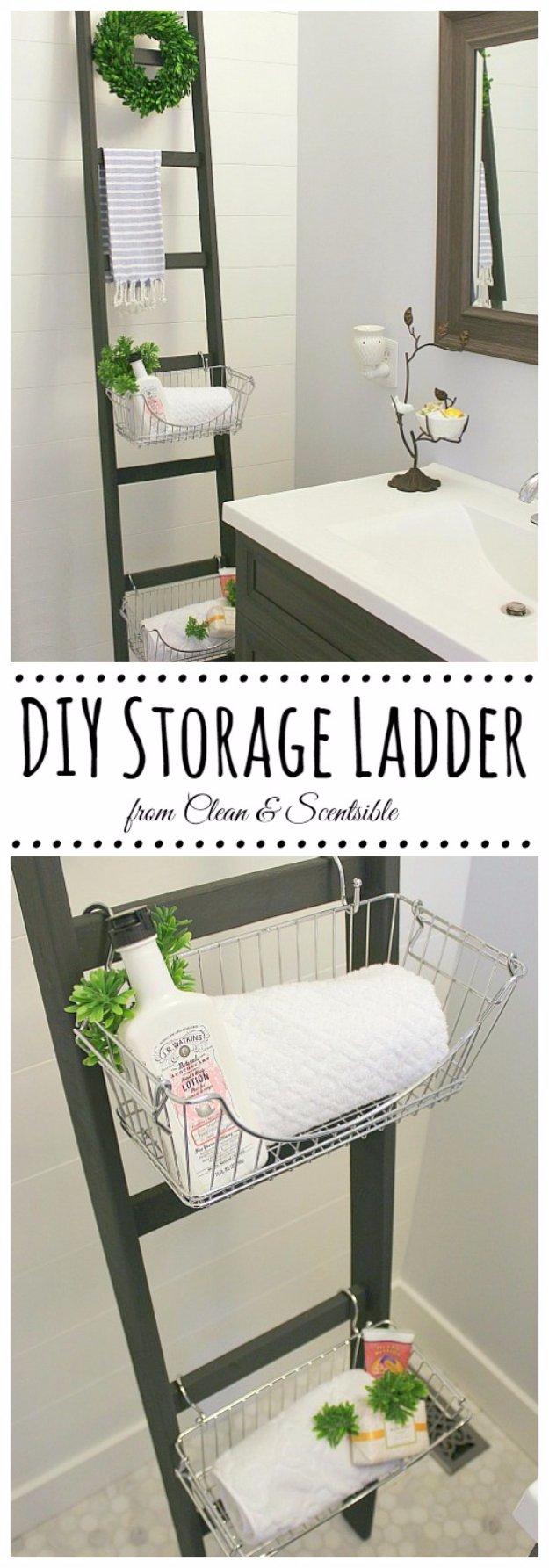 DIY Bathroom Decor Ideas - DIY Bathroom Storage Ladder - Cool Do It Yourself Bath Ideas on A Budget, Rustic Bathroom Fixtures, Creative Wall Art, Rugs mason jar idea bath diy