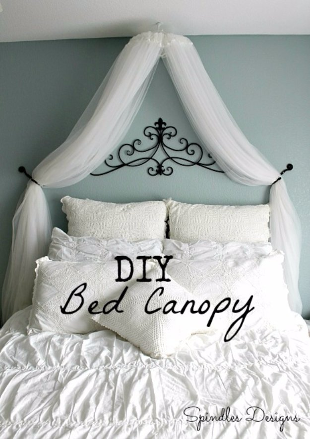DIY Renters Decor Ideas - DIY Bedroom Canopy - Cool DIY Projects for Those Renting Aparments, Condos or Dorm Rooms - Easy Temporary Wall Art, Contact Paper, Washi Tape and Shelves to Make at Home  #diyhomedecor #diyideas