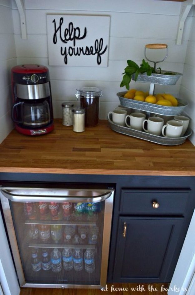 DIY Dining Room Decor Ideas - DIY Beverage Bar - Cool DIY Projects for Table, Chairs, Decorations, Wall Art, Bench Plans, Storage, Buffet, Hutch and Lighting Tutorials