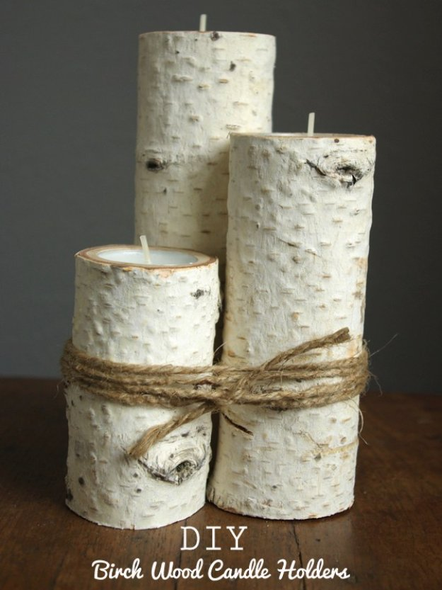 DIY Living Room Decor Ideas - DIY Birch Wood Candle Holders - Cool Modern, Rustic and Creative Home Decor - Coffee Tables, Wall Art, Rugs, Pillows and Chairs. Step by Step Tutorials and Instructions