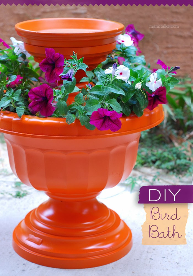 Creative Ways to Increase Curb Appeal on A Budget - DIY Bird Bath - Cheap and Easy Ideas for Upgrading Your Front Porch, Landscaping, Driveways, Garage Doors, Brick and Home Exteriors. Add Window Boxes, House Numbers