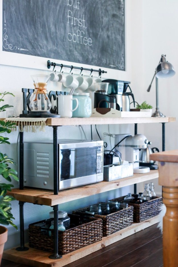 DIY Dining Room Decor Ideas - DIY Black Pipe Coffee Bar Station - Cool DIY Projects for Table, Chairs, Decorations, Wall Art, Bench Plans, Storage, Buffet, Hutch and Lighting Tutorials