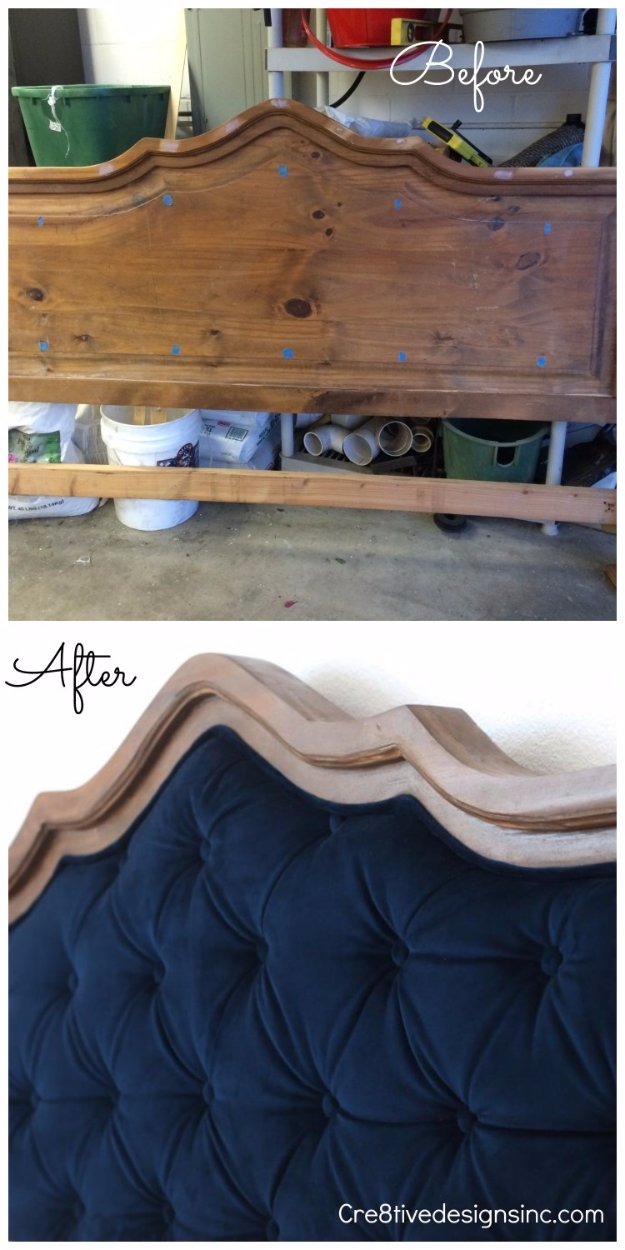 DIY Headboard Ideas - DIY Blue Tufted Headboard - Easy and Cheap Do It Yourself Headboards - Upholstered, Wooden, Fabric Tufted, Rustic Pallet, Projects With Lights, Storage and More Step by Step Tutorials #diy #bedroom #furniture