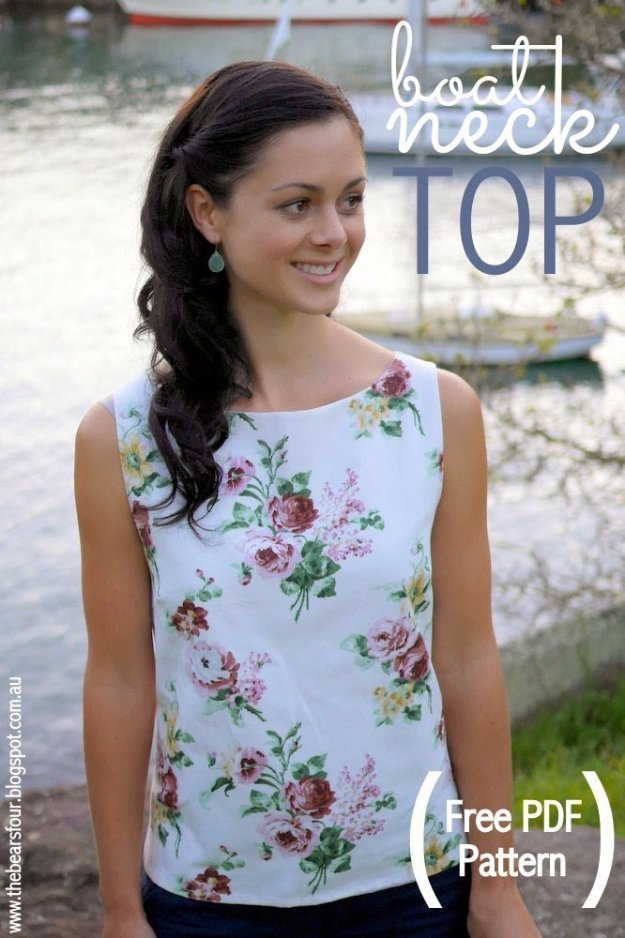 DIY Sewing Projects for Women - DIY Boat Neck Top - How to Sew Dresses, Blouses, Pants, Tops and Fashion. Step by Step Tutorials and Instructions #sewing #fashion