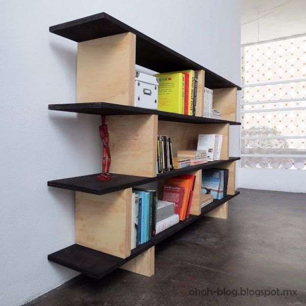 DIY Renters Decor Ideas - DIY Bookcase - Cool DIY Projects for Those Renting Aparments, Condos or Dorm Rooms - Easy Temporary Wall Art, Contact Paper, Washi Tape and Shelves to Make at Home  #diyhomedecor #diyideas