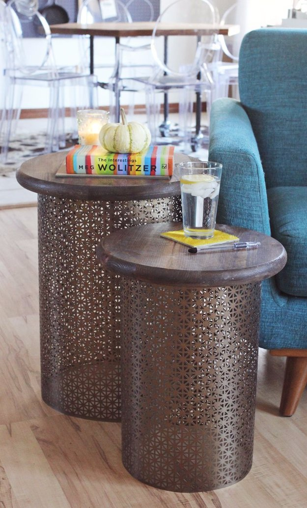 DIY End Tables with Step by Step Tutorials - DIY Brass Side Table - Cheap and Easy End Table Projects and Plans - Wood, Storage, Pallet, Crate, Modern and Rustic. Bedroom and Living Room Decor Ideas #endtables #diydecor #diy