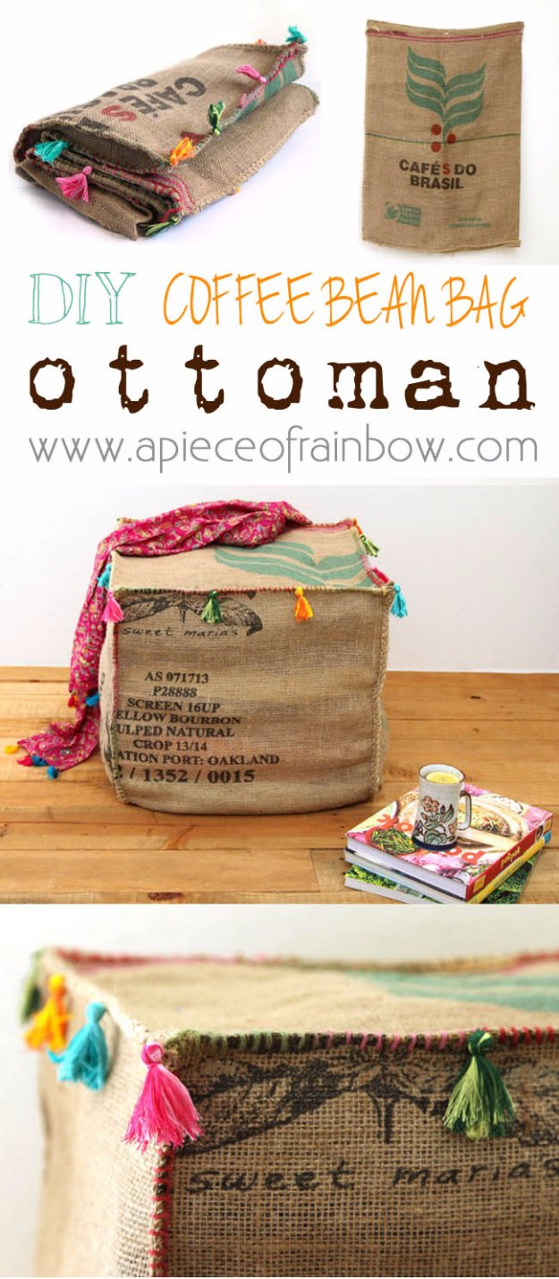 DIY Renters Decor Ideas - DIY Burlap Coffee Bag Ottoman - Cool DIY Projects for Those Renting Aparments, Condos or Dorm Rooms - Easy Temporary Wall Art, Contact Paper, Washi Tape and Shelves to Make at Home  #diyhomedecor #diyideas