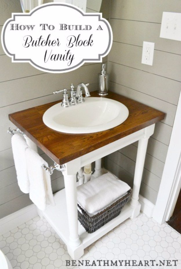DIY Bathroom Decor Ideas - DIY Butcher Block Vanity - Cool Do It Yourself Bath Ideas on A Budget, Rustic Bathroom Fixtures, Creative Wall Art, Rugs mason jar idea bath diy